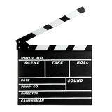 Film clap. Equipment of filmmaking - black clapboard stock photography