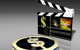 Film clap. Dollar and clap, , Dollar and clap Royalty Free Stock Photos