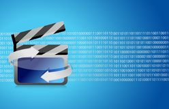 Film clap board cinema binary. Illustration design background Stock Photography