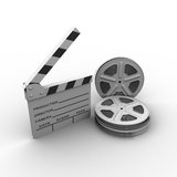Film and clap board. cinema. 3d. Pn white background Stock Image