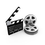 Film and clap board. cinema. 3d. Pn white background Stock Photos
