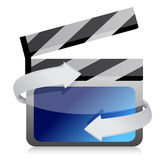Film clap board cinema on the move. Illustration design over white Stock Photos