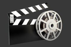 Film and clap board movies. Symbol. High resolution. 3D image Stock Photography