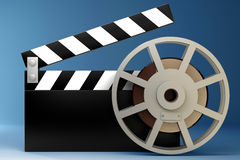 Film and clap board movies. Symbol. High resolution. 3D image Royalty Free Stock Image