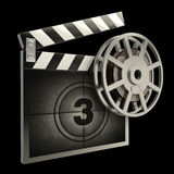 Film and clap board movies. Symbol closeup isolated on black. High resolution. 3D image Royalty Free Stock Photos