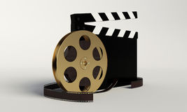 Film and clap board,video icon. Film and clap board on the with beckground Stock Image