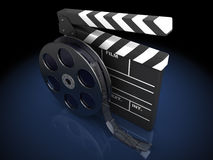 Film clap. 3d illustration of cinema clap and film reel, over black background Stock Photos