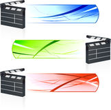 Film Clapper with Banners Stock Photo