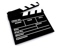 A film clapper board. 3D Image of a film clapper board Stock Photo