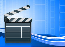 Film clapper board on blue background Stock Photos