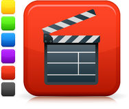 Film clapper board  icon on square internet button. Original icon Stock Images
