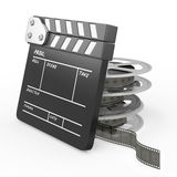 Film and Clapper board. Isolated on white background. 3d render image Royalty Free Stock Images