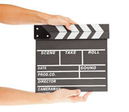 Film clapper  board with space and hand Royalty Free Stock Image