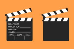Film clapper. Cinema clapboard symbol design. Vector illustratio Stock Images