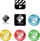 Film Clapper icon symbol. Several versions of an icon symbol of a stylised film clapper board Royalty Free Stock Images