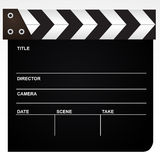 Film clapper isolated on white backgroun. Realistic looking vector object isolated on white background Stock Photography