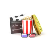 Film(clapper, popcorn,tickets. 3dGlasses Royalty Free Stock Image