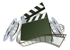 Film clapperboard and movie film reels. A clapperboard and film spooling out of film reel illustration. Dynamic perspective and copyspace on the board for your royalty free illustration