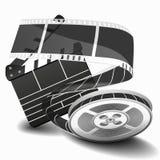 Film clapperboard oder Filmscharnierventil lokalisiert auf weißer Vektorillustration Clapperboard für Videoclip, Brettklatschen f Lizenzfreie Stockfotos