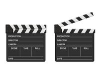 Film clappers boards isolated on white background. Blank movie clapper cinema. Vector illustration Stock Photography