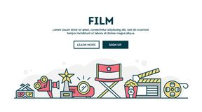 Film, colorful concept header, flat design thin line style. Vector illustration Stock Image