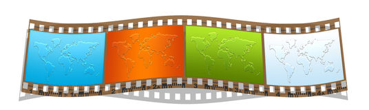 Film with colorful world maps. Film with colorful world geographical maps silhouette Stock Image