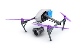 Film concept Generic Design Remote Control Air Drone Flying 3D r Royalty Free Stock Image