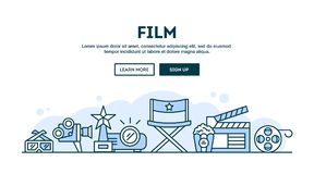 Film, concept header, flat design thin line style. Vector illustration Stock Photos