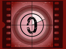 Film Countdown - At 0. Old Red Scratched Film Countdown at No 0 Royalty Free Stock Photography