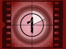 Film Countdown - At 1. Old Red Scratched Film Countdown at No 1 Royalty Free Stock Images