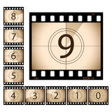 Film countdown. With separate frames.  Please check my portfolio for more photography and film illustrations Royalty Free Stock Photography