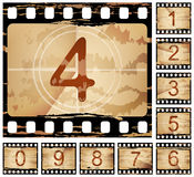 Film countdown. Vector grunge film countdown, each frame different Stock Photography