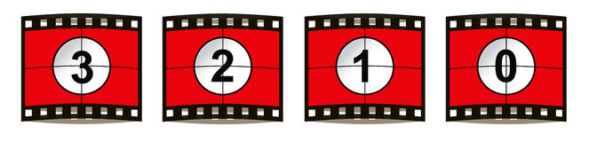 Film countdown. Three, two, one, zero, the traditional method of countdown for a film in cinemas and theatres. These images each have a negative film frame Stock Images