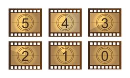 Film countdown. Old Film countdown isolated over white background. vector Stock Image