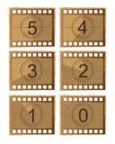 Film countdown. Old film countdown isolated over white background. vector Royalty Free Stock Photo