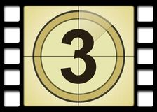Film Countdown. Like in the movies. Number 3 Stock Photography