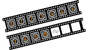 Film countdown. Vector illustration. Numbers 0-10 Royalty Free Stock Photos