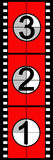 Film countdown. Three, two, one, zero, the traditional method of countdown for a film in cinemas when the sound and vision were co-ordinated as they played from Royalty Free Stock Photo