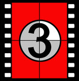 Film countdown. Three, two, one, zero, the traditional method of countdown for a film in cinemas when the sound and vision were co-ordinated as they played from Royalty Free Stock Images