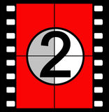 Film countdown. Three, two, one, zero, the traditional method of countdown for a film in cinemas when the sound and vision were co-ordinated as they played from Stock Photo