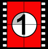 Film countdown. Three, two, one, zero, the traditional method of countdown for a film in cinemas when the sound and vision were co-ordinated as they played from Royalty Free Stock Photos