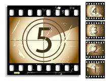 Film countdown. With moving timer and different grunge on each frame Stock Photography