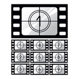 Film countdown. Cinematographic film, storyboard icon set on white background Royalty Free Stock Images