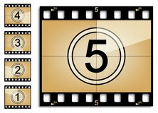 Film countdown. 5 frames of filmstrip countdown on transparent background Royalty Free Stock Image