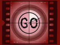 Film Countdown - Go. Old Red Scratched Film Countdown - Go Stock Image