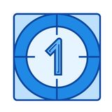 Film countdown line icon. Film countdown vector line icon isolated on white background. Film countdown line icon for infographic, website or app. Blue icon Royalty Free Stock Images