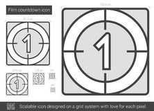 Film countdown line icon. Film countdown vector line icon isolated on white background. Film countdown line icon for infographic, website or app. Scalable icon Stock Image