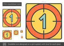 Film countdown line icon. Film countdown vector line icon isolated on white background. Film countdown line icon for infographic, website or app. Scalable icon Stock Photo