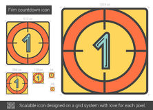 Film countdown line icon. Film countdown vector line icon isolated on white background. Film countdown line icon for infographic, website or app. Scalable icon Royalty Free Stock Images