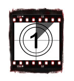 Film countdown at No 1. Illustration of film countdown on white background Stock Photo